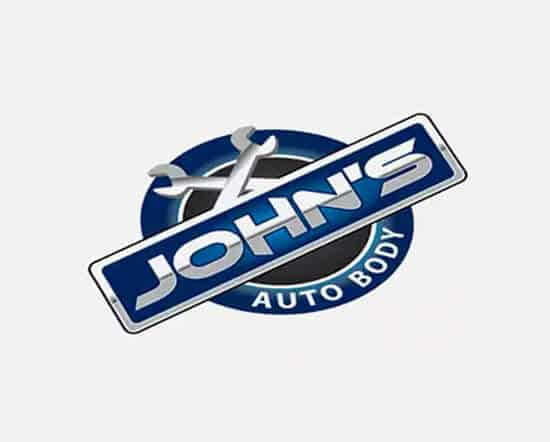 john's autobody shot logo design