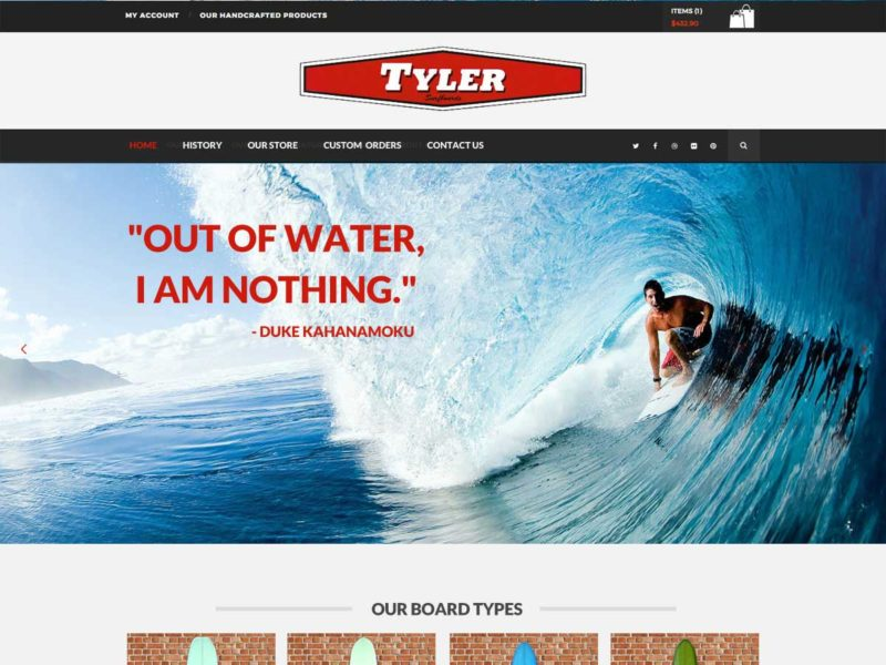 surfing shop website design